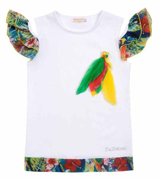 "Футболка белая DeSalitto ""Rainbow Birds"""