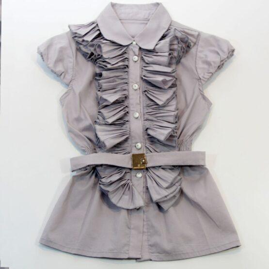 Блуза с поясом серая Desalitto