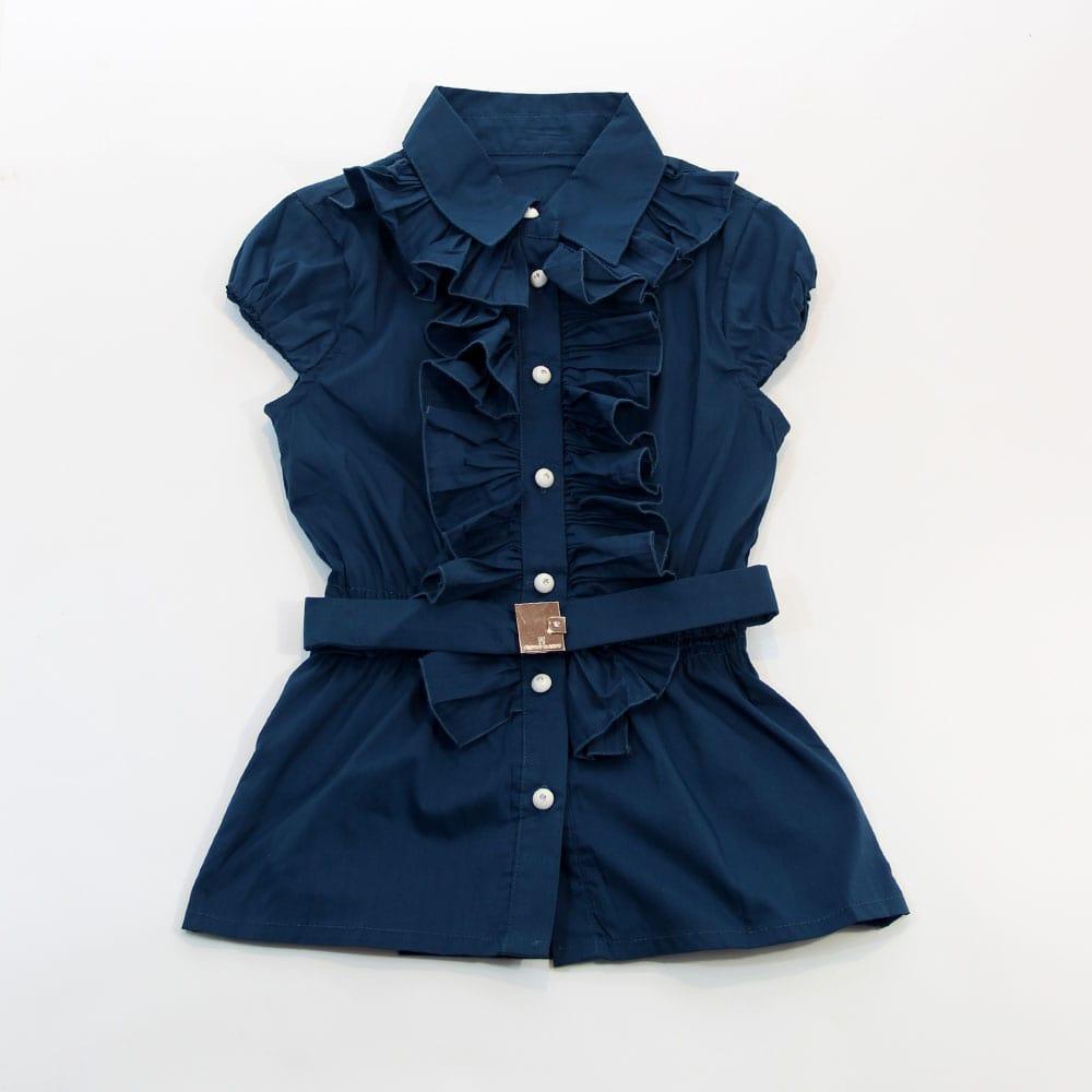 Блуза с поясом синяя Desalitto