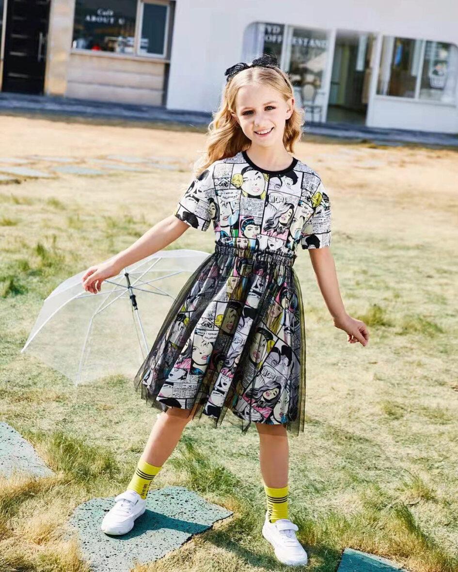 Платье трикотажное с сеткой